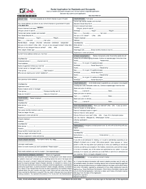 Rental Application For Residents And Occupants Houston