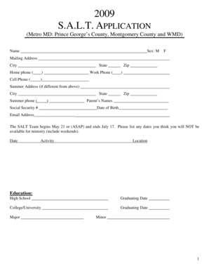 Fillable Online 2009 S.A.L.T. APPLICATION Fax Email Print