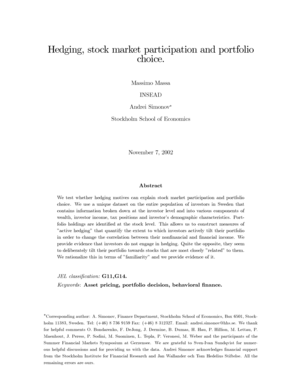 Fillable Online Hedging, stock market participation and