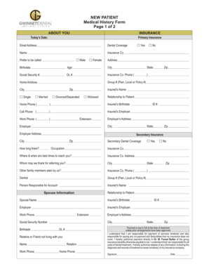 19 Printable medical history form for dental office