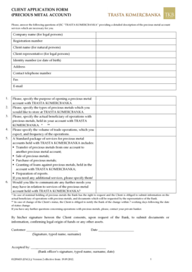 Fillable Online Client Application Form (Precious Metal
