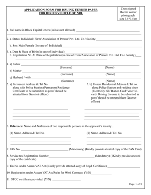 Fillable Online APPLICATION FORM FOR ISSUING TENDER PAPER