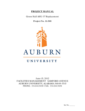 Fillable Online sites auburn PROJECT MANUAL Green Hall AHU