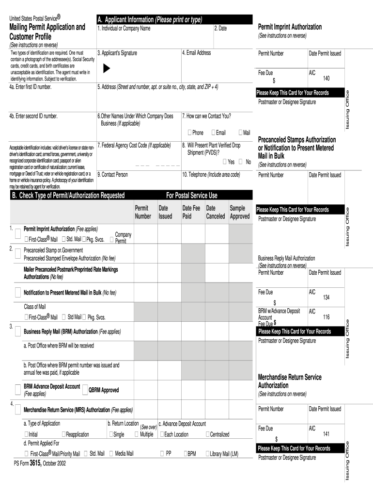 2002 Form USPS PS 3615 Fill Online, Printable, Fillable