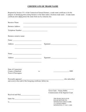 Fillable Online newingtonct CERTIFICATE OF TRADE NAME