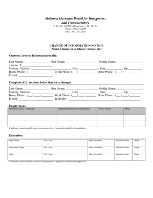 Fillable Online Alabama Licensure Board for Interpreters
