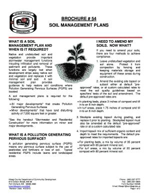 Fillable Online Soil Management Plan Brochure # 54