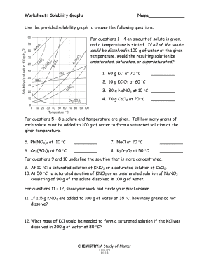 Fillable Online Worksheet: Solubility Graphs Name
