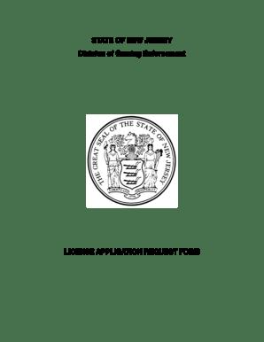 Fillable Online nj License Application Request Form
