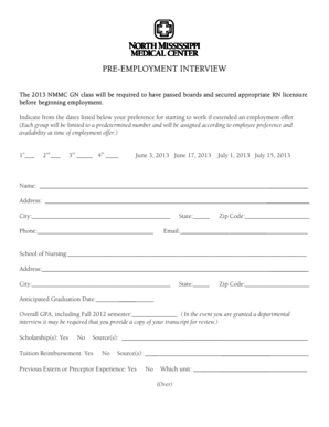 Fillable Online Pre-Employment Interview Form Fax Email