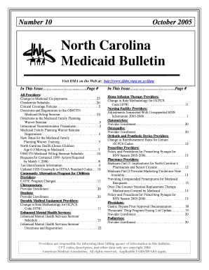 Fillable Online ncdhhs NC DMA: October 2005 Medicaid