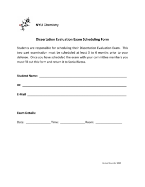 Fillable Online Dissertation Evaluation Exam Scheduling