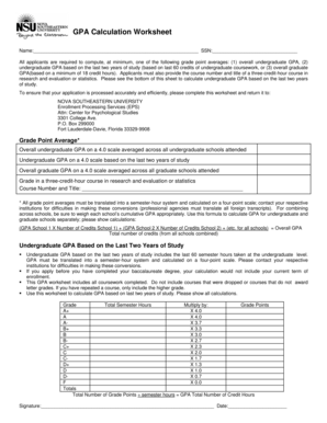Gpa Calculation Spreadsheet Forms And Templates