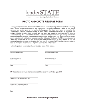 Fillable Online PHOTO AND QUOTE RELEASE FORM Fax Email