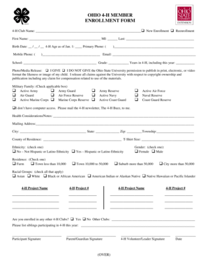 Fillable Online wood osu 2012 Member Enrollment Form