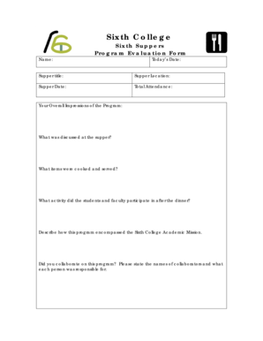 16 Printable simple program evaluation template Forms