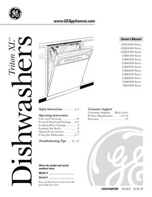 Fillable Online GE Triton XL Dishwasher GSD6200G00BB