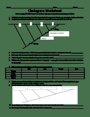 Fillable Online Cladogram Worksheet