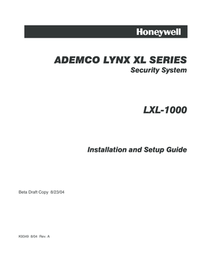 Fillable Online Ademco lynx xl series ademco lynx xl