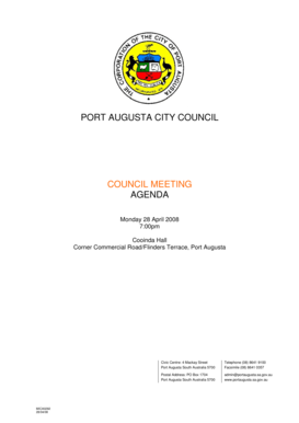 Fillable Online PORT AUGUSTA CITY COUNCIL COUNCIL MEETING