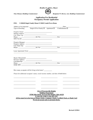 Fillable Online Residential Occupancy Permit bApplicationb
