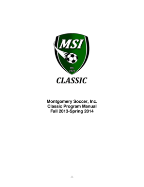 Fillable Online Montgomery Soccer Inc Classic Program