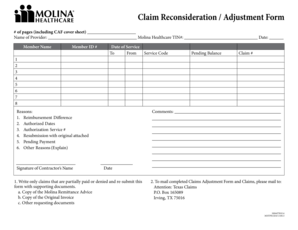Fillable Online Claim Reconsideration Adjustment Form