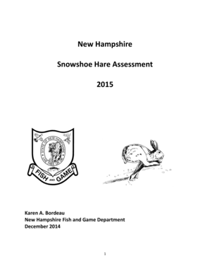 Fillable Online New Hampshire Snowshoe Hare Assessment