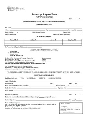 Fillable Online aiuniv Transcript Request Form AIU Online