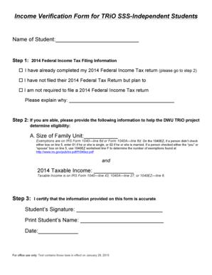 Fillable Online dwu Income Verification Form for TRiO SSS ...