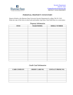 21 Printable personal property inventory sheet Forms and