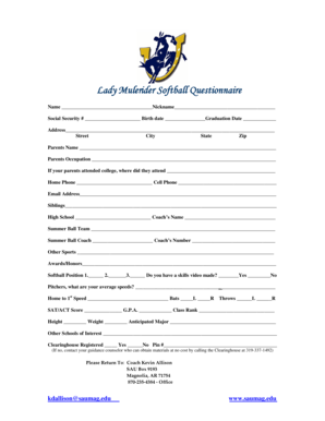 fillable softball position chart Forms and Templates