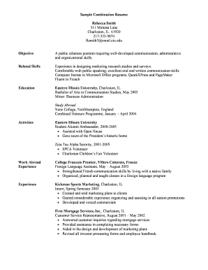 Sample Combination Resume Fill Online Printable Fillable