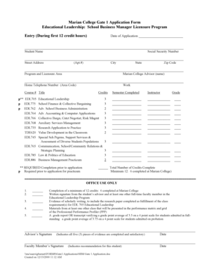 Fillable Online marianuniversity Gate 1 Application Form