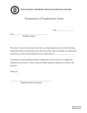 110 Printable Employment Termination Letters Forms and