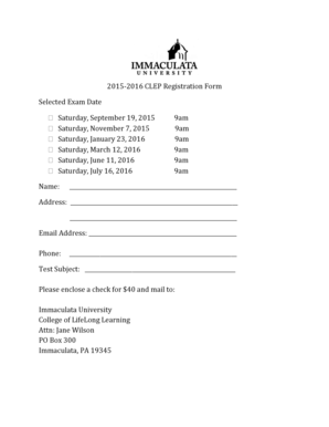 Fillable Online immaculata 20152016 CLEP Registration Form