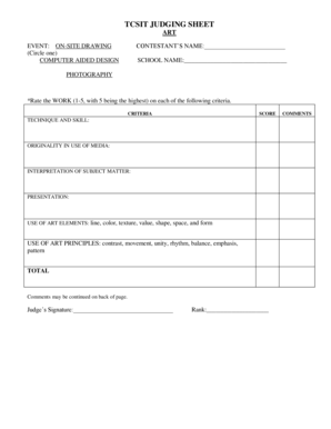 Fillable Online texaschristianschools TCSIT JUDGING SHEET