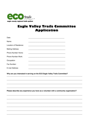 Fillable Online Eagle Valley Trails Committee Application