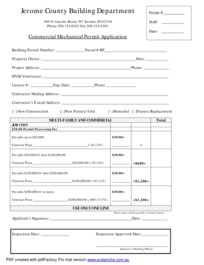 Fillable Online 2014 Commercial Mechanical Permit