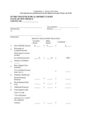 Fillable Online WORKSHEET A BASIC VISITATION Fax Email