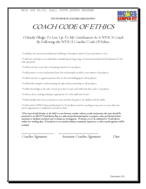 Fillable Online YOUTH SPORTS COACHES ASSOCIATION Fax Email