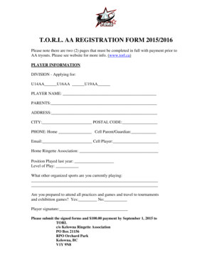 Fillable Online TORL AA REGISTRATION FORM 2015 2016 Fax