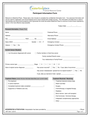 Fillable Online Participant Information Form