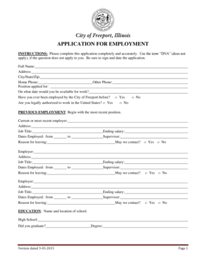 Fillable Online City of Freeport Illinois APPLICATION FOR