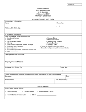 Fillable Online townofpittsboro Nuisance complaint form 6