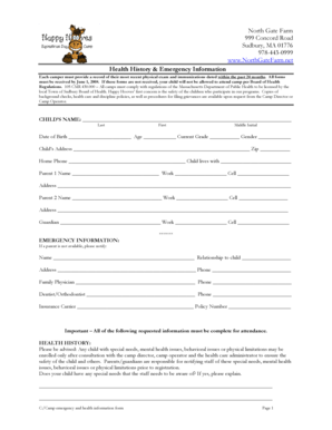 Fillable Online Camp Emergency and Health Information Form