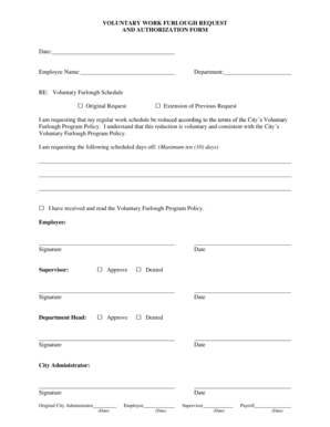 Fillable Online VOLUNTARY WORK FURLOUGH REQUEST AND