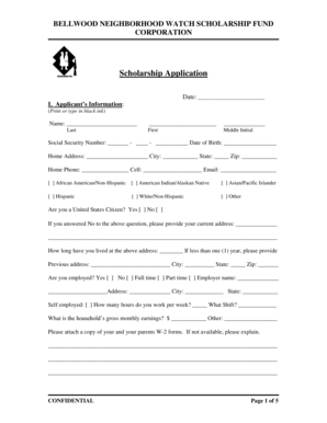 Fillable Online BELLWOOD NEIGHBORHOOD WATCH SCHOLARSHIP