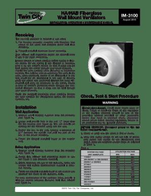 Fillable Online HA HAB Fiberglass Wall Mount Ventilators