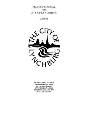 Fillable Online lynchburgva PROJECT MANUAL FOR CITY OF